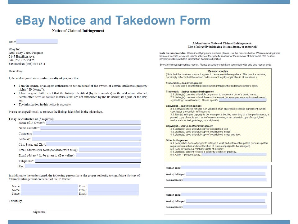 eBay Notice and Takedown Form