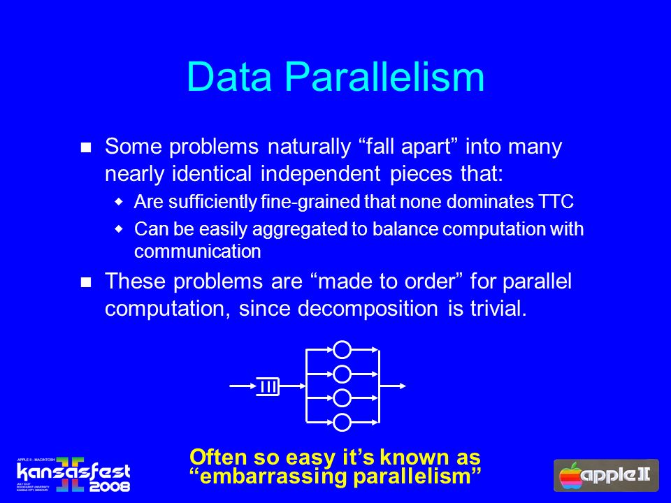 Data Parallelism Some problems naturally fall apart into many nearly identical independent pieces that: Are sufficiently fine-grained that none dominates TTC Can be easily aggregated to balance computation with communication These problems are made to order for parallel computation, since decomposition is trivial.