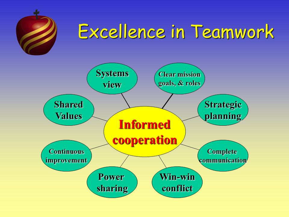 Excellence in Teamwork 8 Taking the systems view means operating with a constant awareness that everyone in the organization is a part of the same system and therefore subject to each of the following principles.