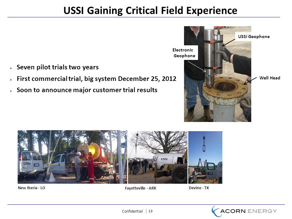 Confidential 19 USSI Gaining Critical Field Experience Seven pilot trials two years First commercial trial, big system December 25, 2012 Soon to announce major customer trial results USSI Geophone Electronic Geophone Well Head Fayetteville - ARK Devine - TX New Iberia - LO