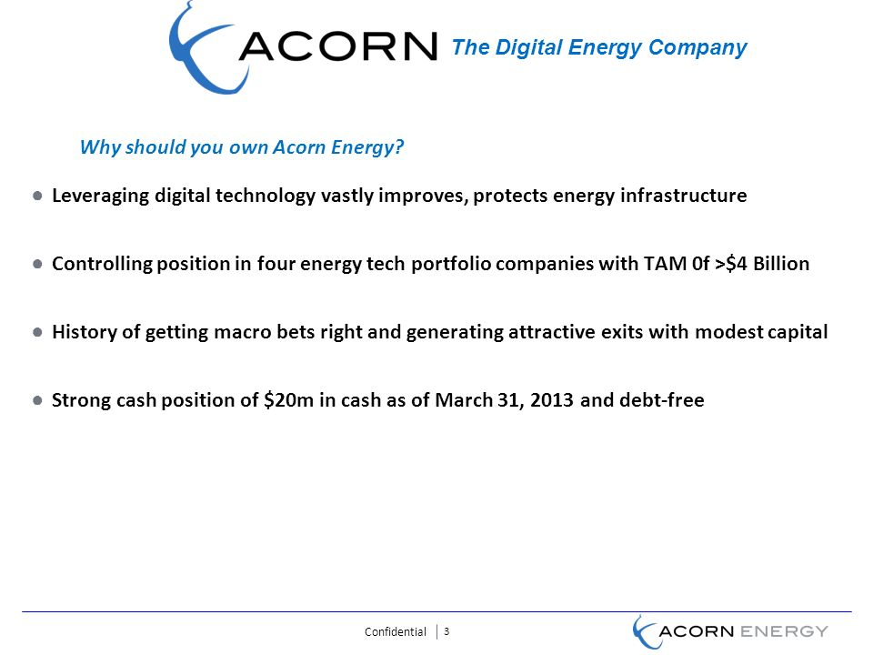 Confidential 3 Leveraging digital technology vastly improves, protects energy infrastructure Controlling position in four energy tech portfolio companies with TAM 0f >$4 Billion History of getting macro bets right and generating attractive exits with modest capital Strong cash position of $20m in cash as of March 31, 2013 and debt-free The Digital Energy Company Why should you own Acorn Energy