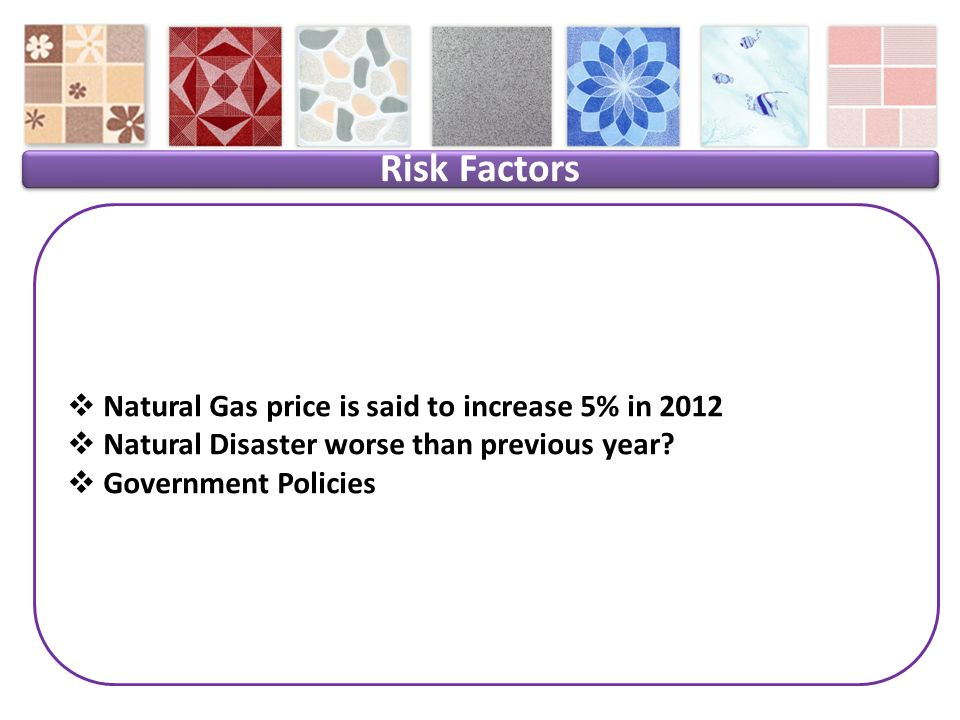 Risk Factors Natural Gas price is said to increase 5% in 2012 Natural Disaster worse than previous year.