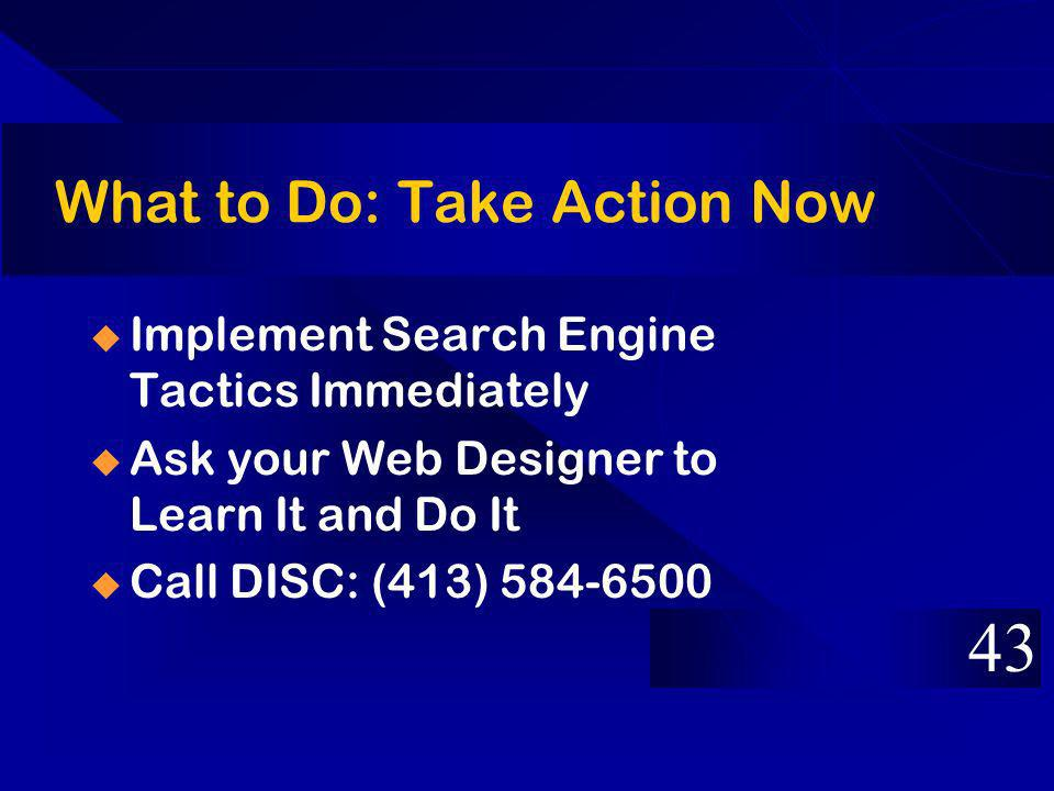 What to Do: Take Action Now Implement Search Engine Tactics Immediately Ask your Web Designer to Learn It and Do It Call DISC: (413)