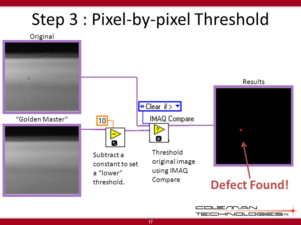 Step 3 : Pixel-by-pixel Threshold 17 Golden Master Results Subtract a constant to set a lower threshold.