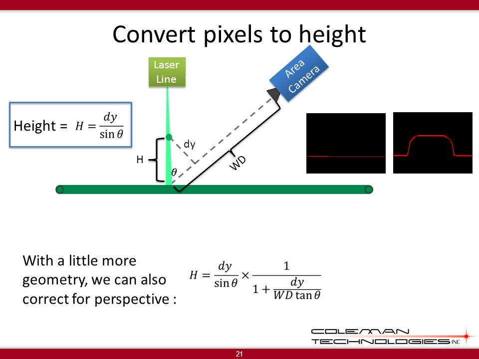 Convert pixels to height 21 With a little more geometry, we can also correct for perspective : WD Laser Line Laser Line Area Camera Area Camera H dy Height =