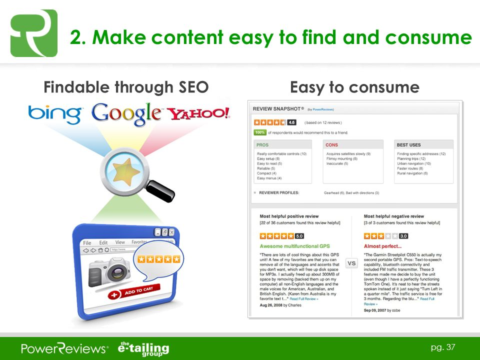pg. 37 2. Make content easy to find and consume Findable through SEO Easy to consume