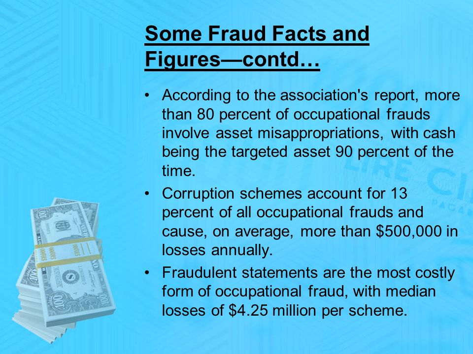 Some Fraud Facts and Figurescontd… According to the association s report, more than 80 percent of occupational frauds involve asset misappropriations, with cash being the targeted asset 90 percent of the time.