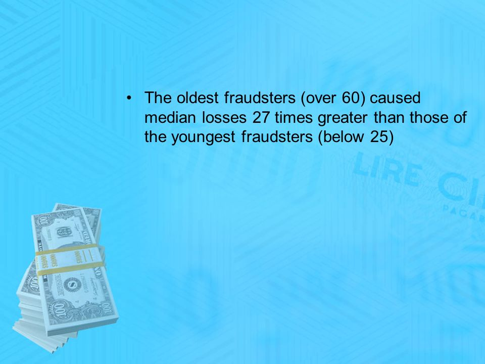 The oldest fraudsters (over 60) caused median losses 27 times greater than those of the youngest fraudsters (below 25)