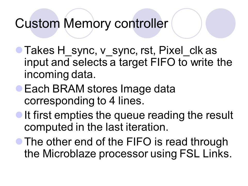 Custom Memory controller Takes H_sync, v_sync, rst, Pixel_clk as input and selects a target FIFO to write the incoming data.