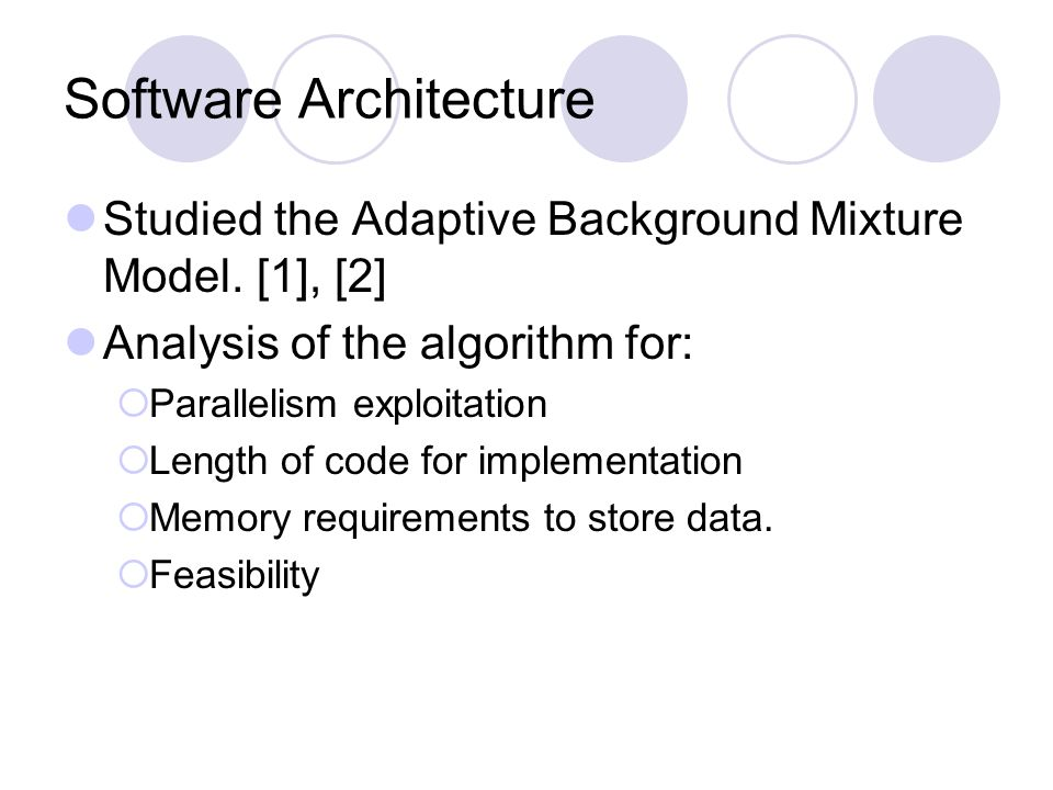 Software Architecture Studied the Adaptive Background Mixture Model.