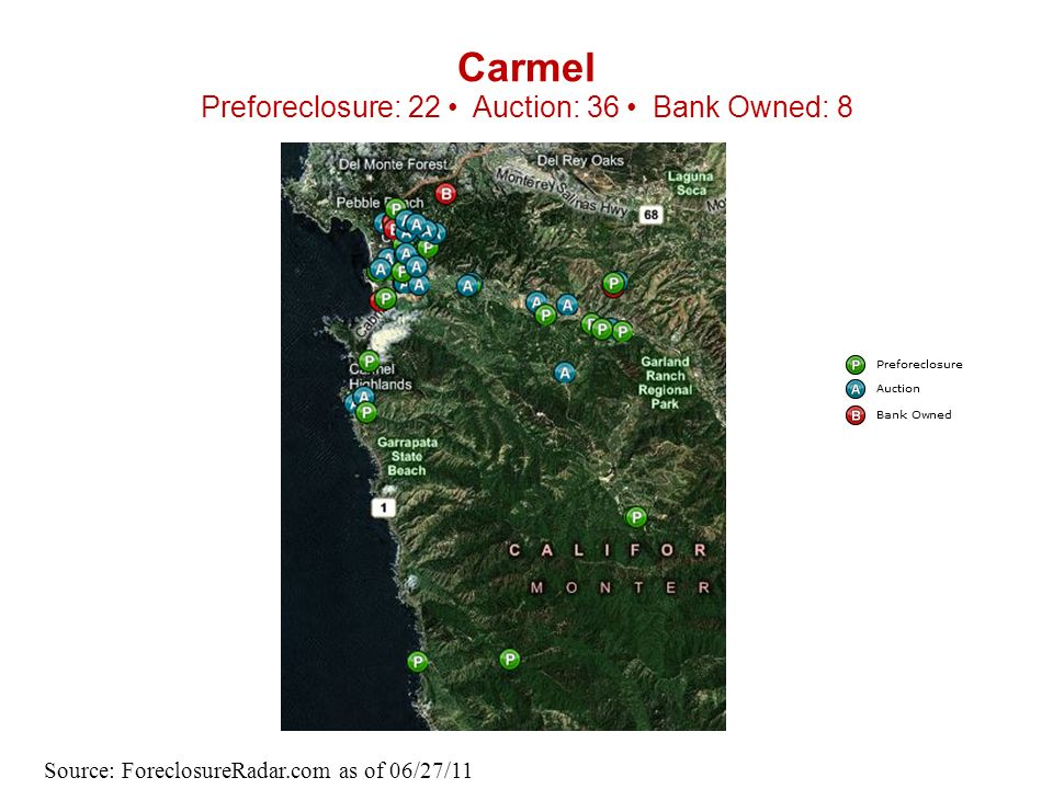 Carmel Preforeclosure: 22 Auction: 36 Bank Owned: 8 Source: ForeclosureRadar.com as of 06/27/11