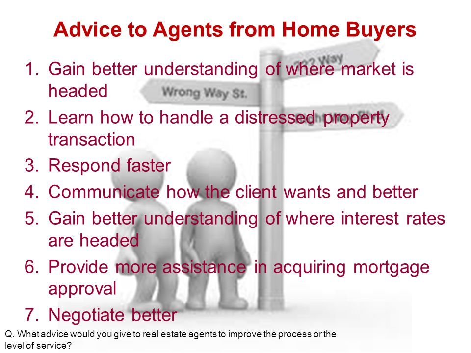 Advice to Agents from Home Buyers 1.Gain better understanding of where market is headed 2.Learn how to handle a distressed property transaction 3.Respond faster 4.Communicate how the client wants and better 5.Gain better understanding of where interest rates are headed 6.Provide more assistance in acquiring mortgage approval 7.Negotiate better Q.
