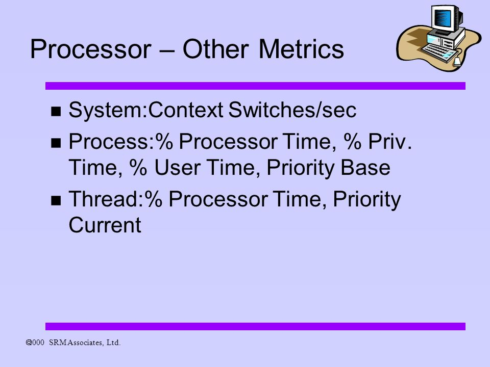 Processor – Other Metrics System:Context Switches/sec Process:% Processor Time, % Priv.