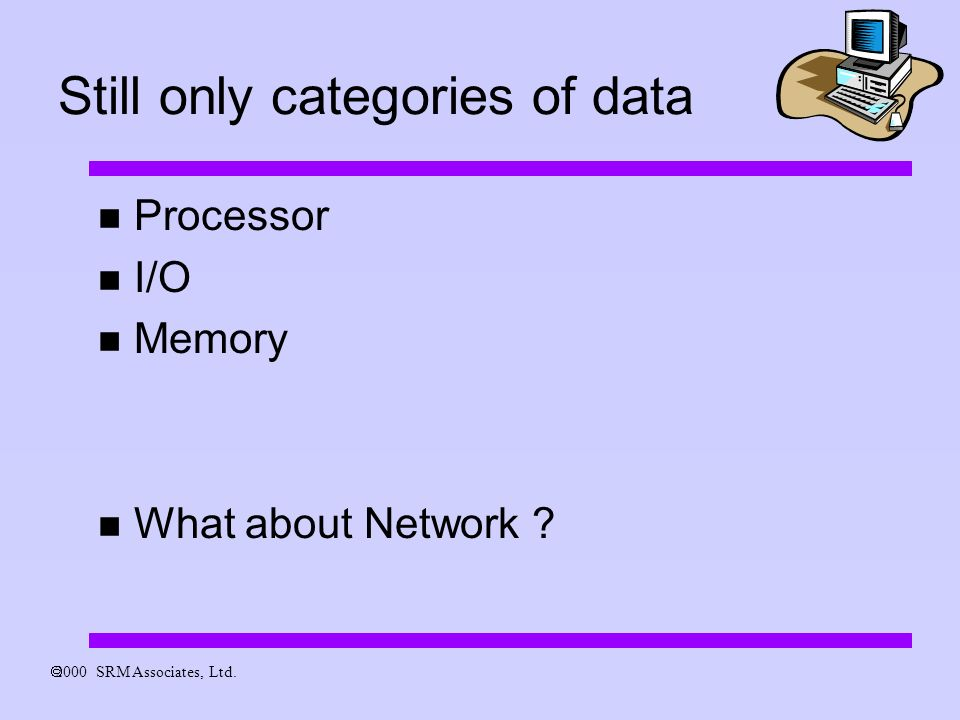 2000 SRM Associates, Ltd. Still only categories of data Processor I/O Memory What about Network