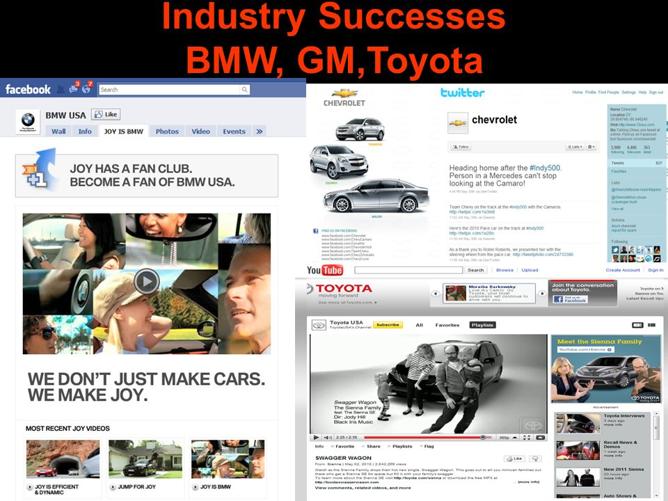 Industry Successes BMW, GM,Toyota