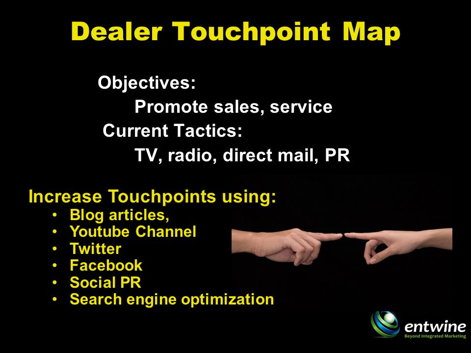 Dealer Touchpoint Map Objectives: Promote sales, service Current Tactics: TV, radio, direct mail, PR Increase Touchpoints using: Blog articles, Youtube Channel Twitter Facebook Social PR Search engine optimization