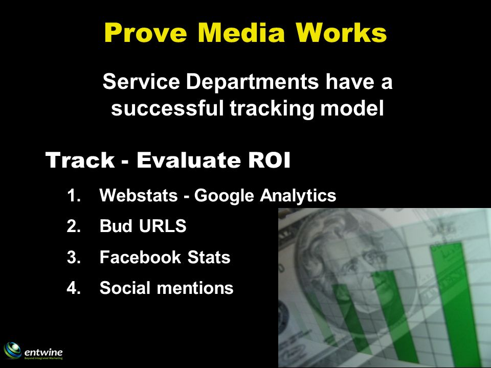 Prove Media Works Track - Evaluate ROI 1.Webstats - Google Analytics 2.Bud URLS 3.Facebook Stats 4.Social mentions Service Departments have a successful tracking model
