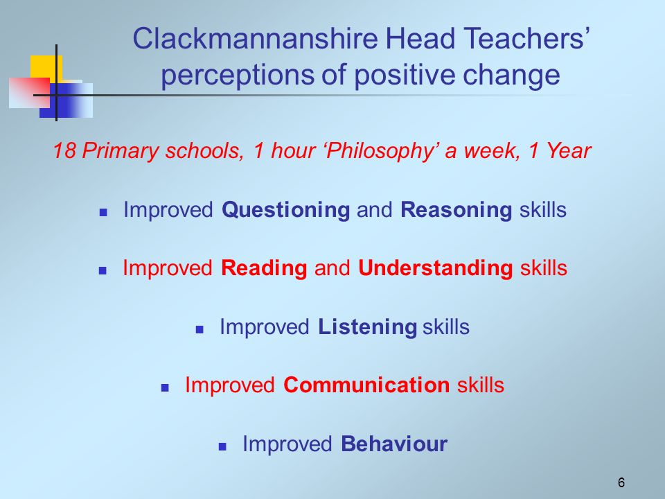 6 Clackmannanshire Head Teachers perceptions of positive change Improved Questioning and Reasoning skills Improved Reading and Understanding skills Improved Listening skills Improved Communication skills Improved Behaviour 18 Primary schools, 1 hour Philosophy a week, 1 Year