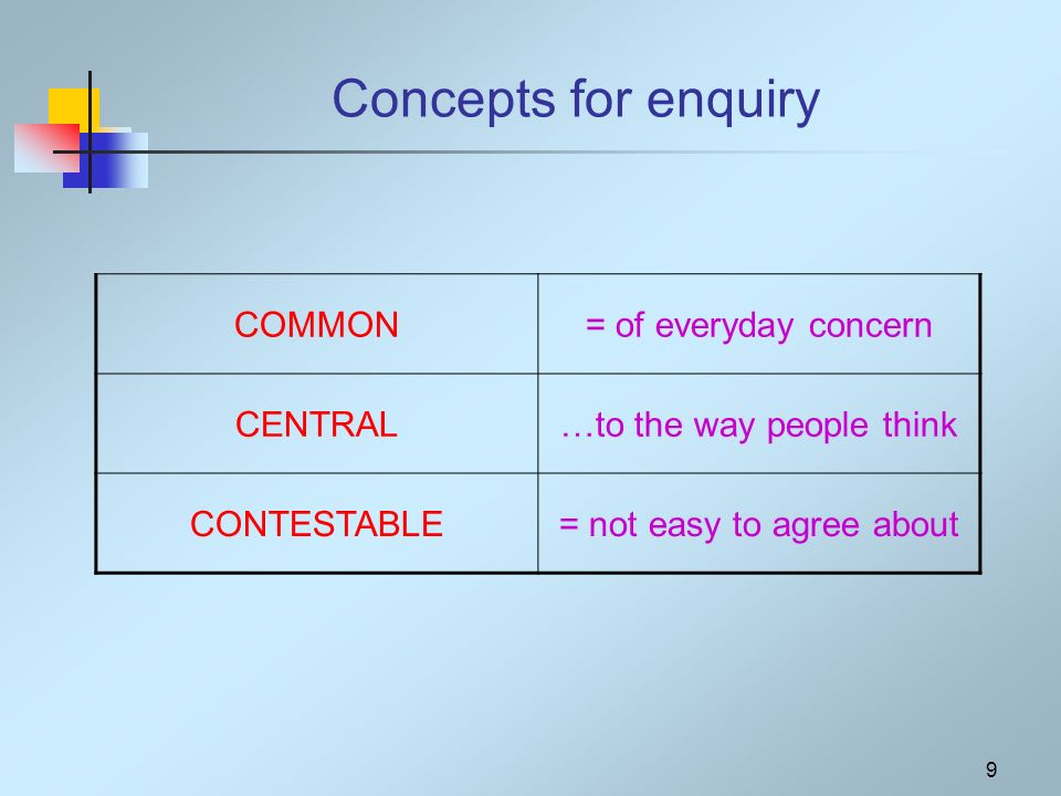 9 Concepts for enquiry COMMON= of everyday concern CENTRAL…to the way people think CONTESTABLE= not easy to agree about