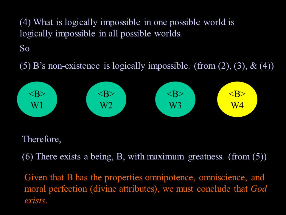 (4) What is logically impossible in one possible world is logically impossible in all possible worlds.