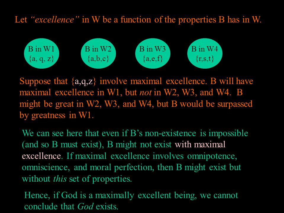 Let excellence in W be a function of the properties B has in W.