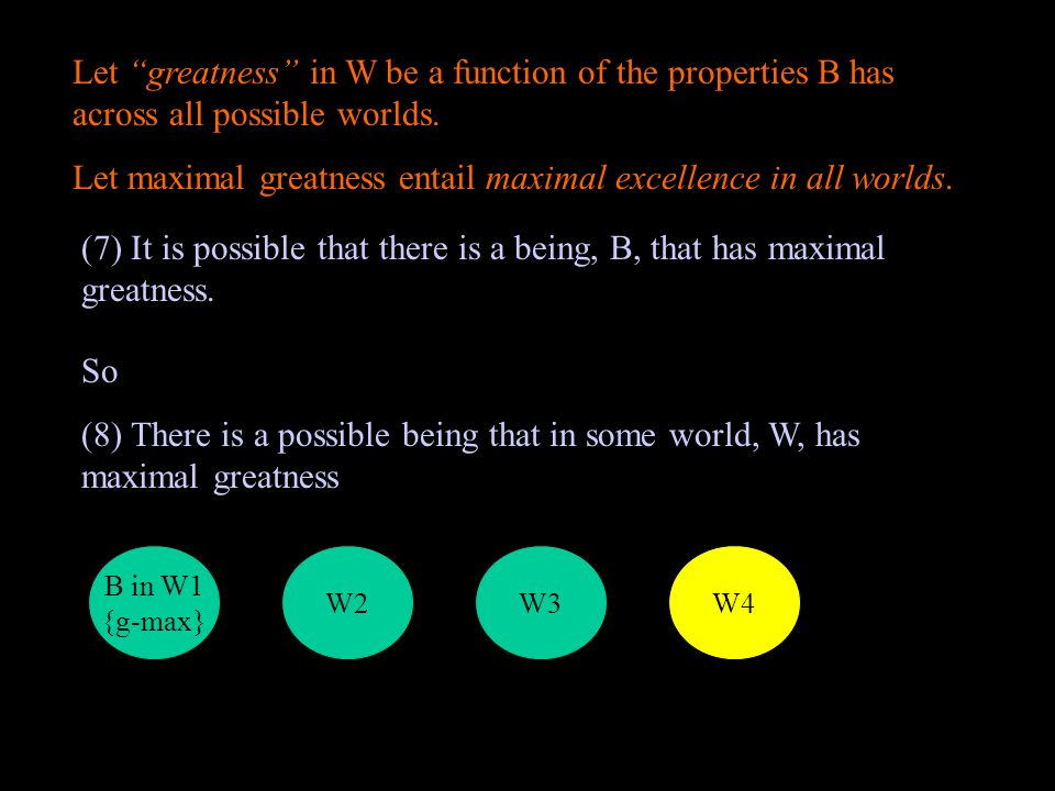 Let greatness in W be a function of the properties B has across all possible worlds.