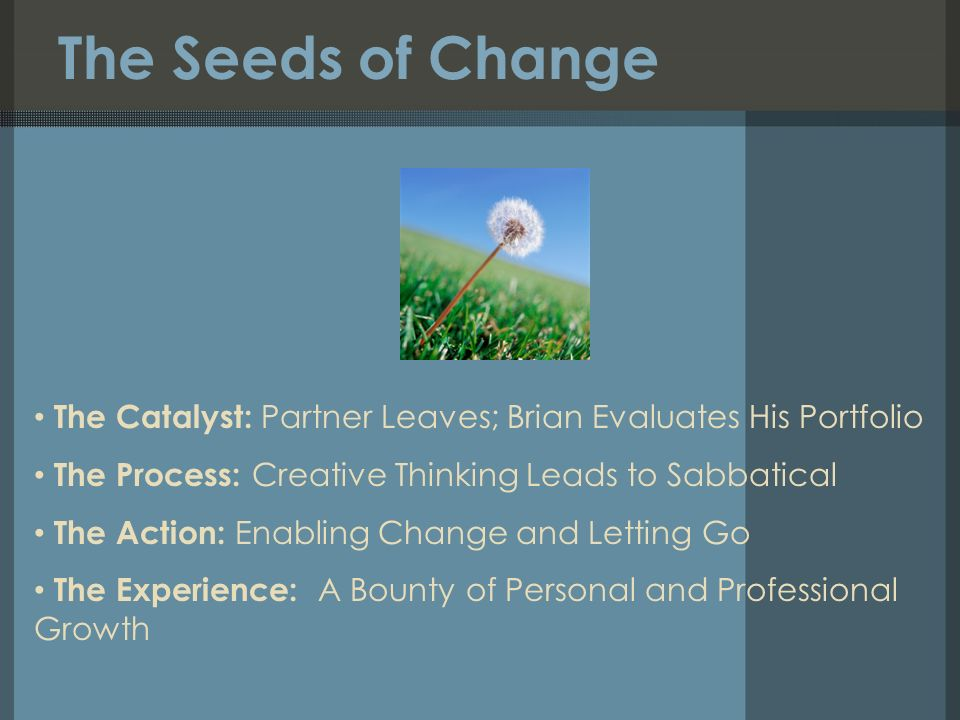 The Seeds of Change The Catalyst: Partner Leaves; Brian Evaluates His Portfolio The Process: Creative Thinking Leads to Sabbatical The Action: Enabling Change and Letting Go The Experience: A Bounty of Personal and Professional Growth