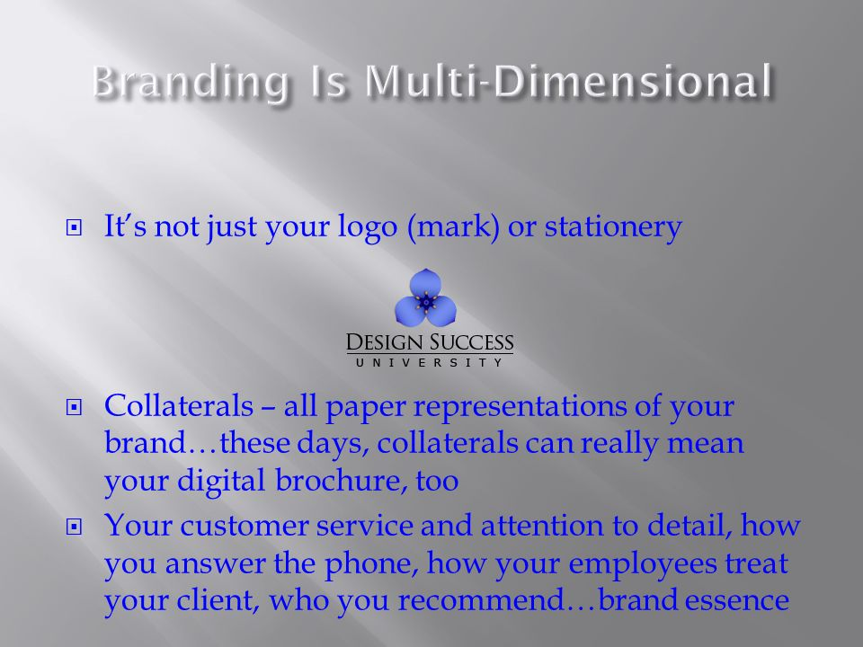 Its not just your logo (mark) or stationery Collaterals – all paper representations of your brand…these days, collaterals can really mean your digital brochure, too Your customer service and attention to detail, how you answer the phone, how your employees treat your client, who you recommend…brand essence