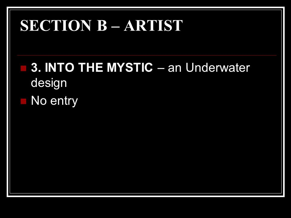 SECTION B – ARTIST 3. INTO THE MYSTIC – an Underwater design No entry