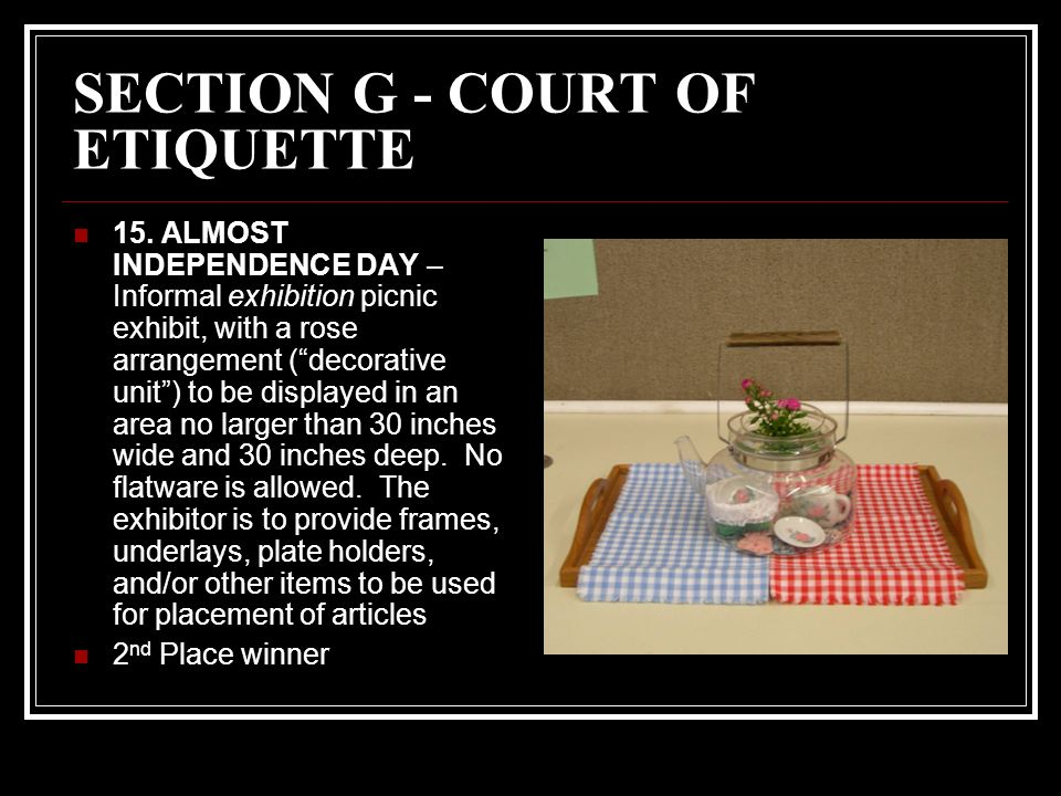 SECTION G - COURT OF ETIQUETTE 15.