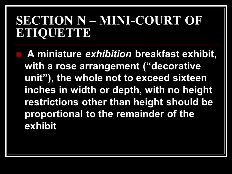 SECTION N – MINI-COURT OF ETIQUETTE A miniature exhibition breakfast exhibit, with a rose arrangement (decorative unit), the whole not to exceed sixteen inches in width or depth, with no height restrictions other than height should be proportional to the remainder of the exhibit