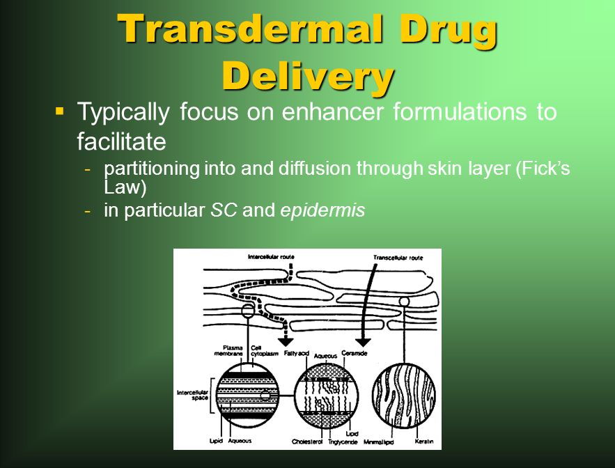 Transdermal Drug Delivery Typically focus on enhancer formulations to facilitate -partitioning into and diffusion through skin layer (Ficks Law) -in particular SC and epidermis