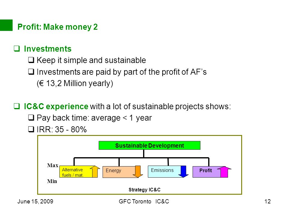 June 15, 2009GFC Toronto IC&C12 Profit: Make money 2 Investments Keep it simple and sustainable Investments are paid by part of the profit of AFs ( 13,2 Million yearly) IC&C experience with a lot of sustainable projects shows: Pay back time: average < 1 year IRR: % Sustainable Development Strategy IC&C Energy Emissions Alternative fuels / mat.