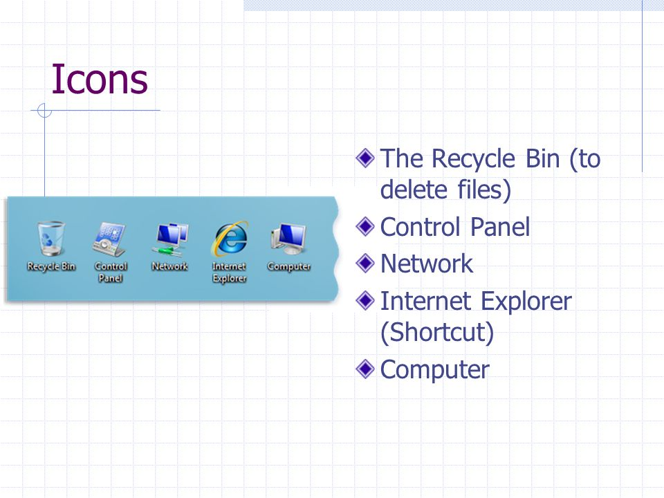 Icons The Recycle Bin (to delete files) Control Panel Network Internet Explorer (Shortcut) Computer