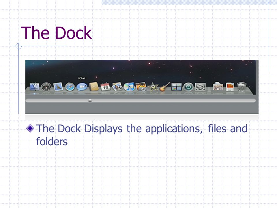 The Dock The Dock Displays the applications, files and folders