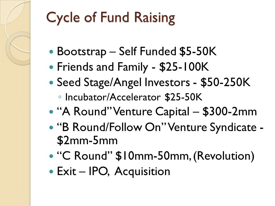 Cycle of Fund Raising Bootstrap – Self Funded $5-50K Friends and Family - $25-100K Seed Stage/Angel Investors - $50-250K Incubator/Accelerator $25-50K A Round Venture Capital – $300-2mm B Round/Follow On Venture Syndicate - $2mm-5mm C Round $10mm-50mm, (Revolution) Exit – IPO, Acquisition