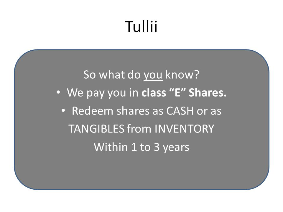 Tullii So what do you know. We pay you in class E Shares.