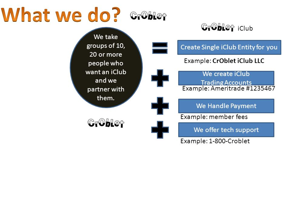 Create Single iClub Entity for you We take groups of 10, 20 or more people who want an iClub and we partner with them.