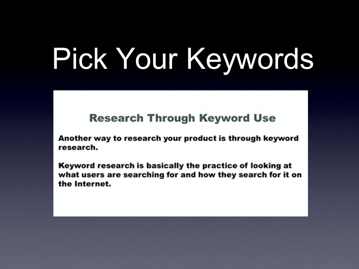 Pick Your Keywords