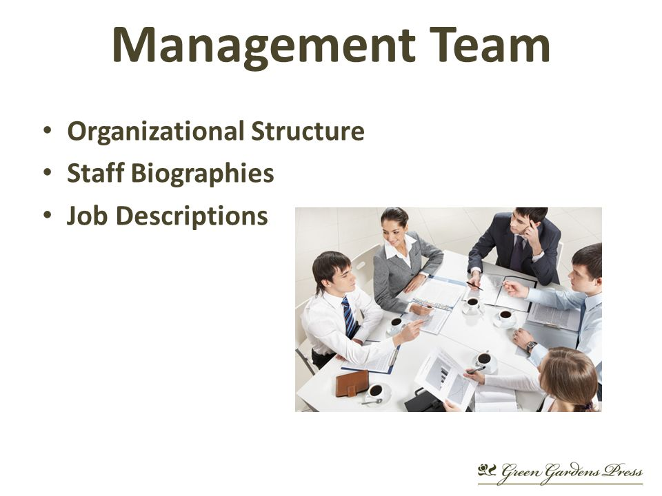 Organizational Structure Staff Biographies Job Descriptions