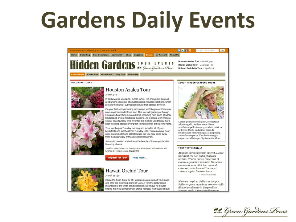 Gardens Daily Events