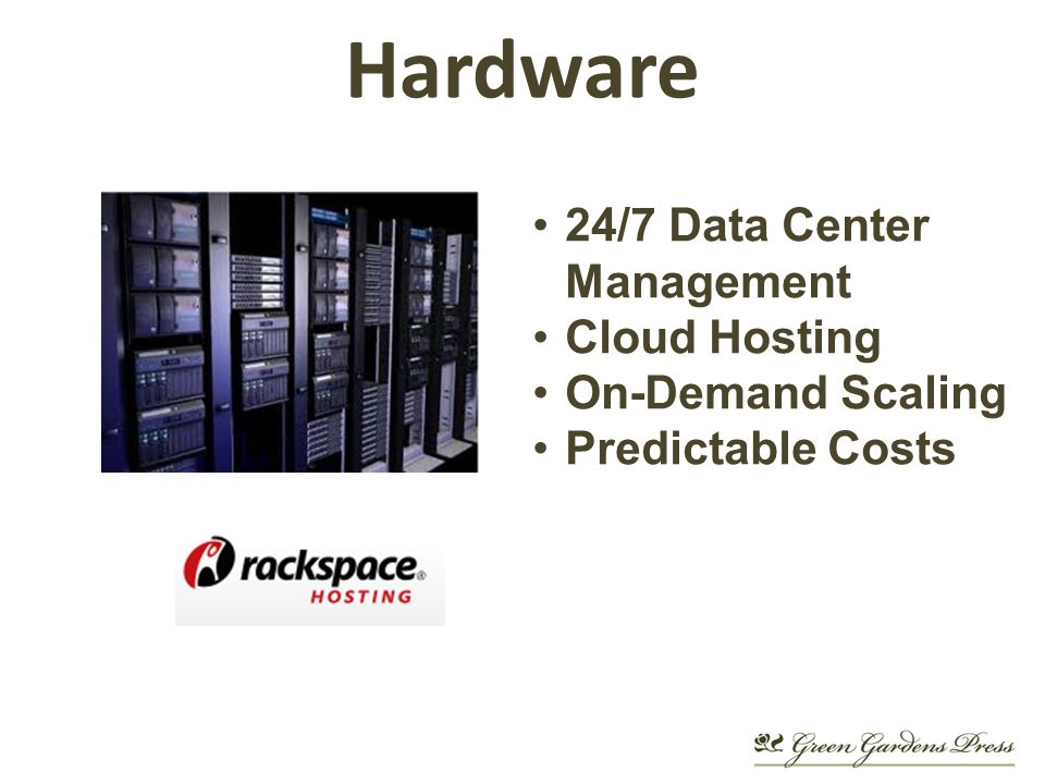 Hardware 24/7 Data Center Management Cloud Hosting On-Demand Scaling Predictable Costs