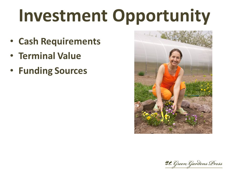 Cash Requirements Terminal Value Funding Sources