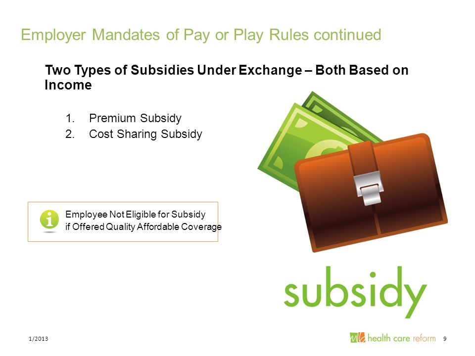 Employer Mandates of Pay or Play Rules continued Two Types of Subsidies Under Exchange – Both Based on Income 1.