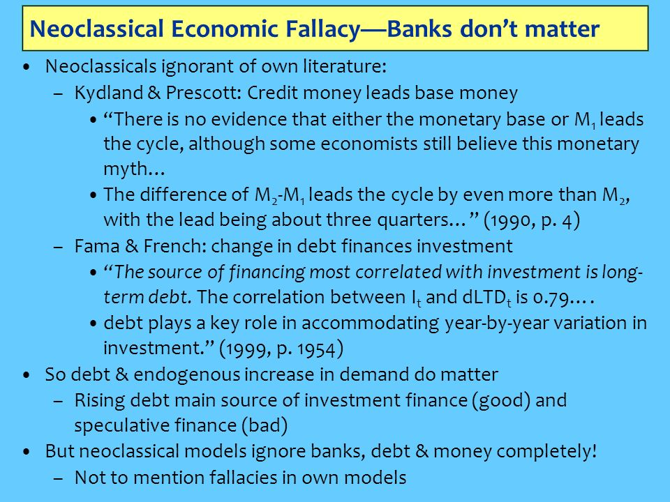 Neoclassical Economic FallacyBanks dont matter Neoclassicals ignorant of own literature: –Kydland & Prescott: Credit money leads base money There is no evidence that either the monetary base or M 1 leads the cycle, although some economists still believe this monetary myth… The difference of M 2 -M 1 leads the cycle by even more than M 2, with the lead being about three quarters… (1990, p.