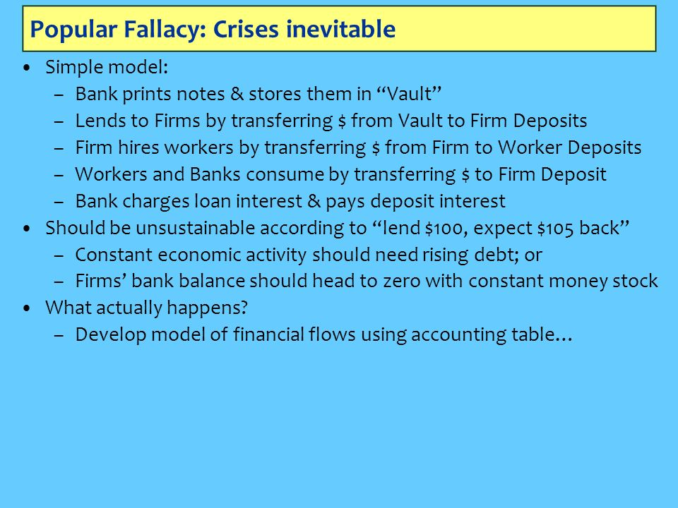 Popular Fallacy: Crises inevitable Simple model: –Bank prints notes & stores them in Vault –Lends to Firms by transferring $ from Vault to Firm Deposits –Firm hires workers by transferring $ from Firm to Worker Deposits –Workers and Banks consume by transferring $ to Firm Deposit –Bank charges loan interest & pays deposit interest Should be unsustainable according to lend $100, expect $105 back –Constant economic activity should need rising debt; or –Firms bank balance should head to zero with constant money stock What actually happens.