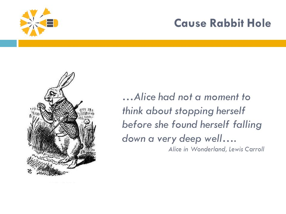 Cause Rabbit Hole …Alice had not a moment to think about stopping herself before she found herself falling down a very deep well….
