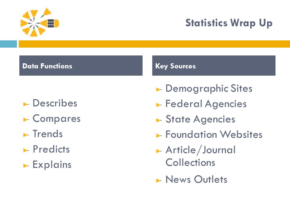 Statistics Wrap Up Describes Compares Trends Predicts Explains Demographic Sites Federal Agencies State Agencies Foundation Websites Article/Journal Collections News Outlets Data FunctionsKey Sources