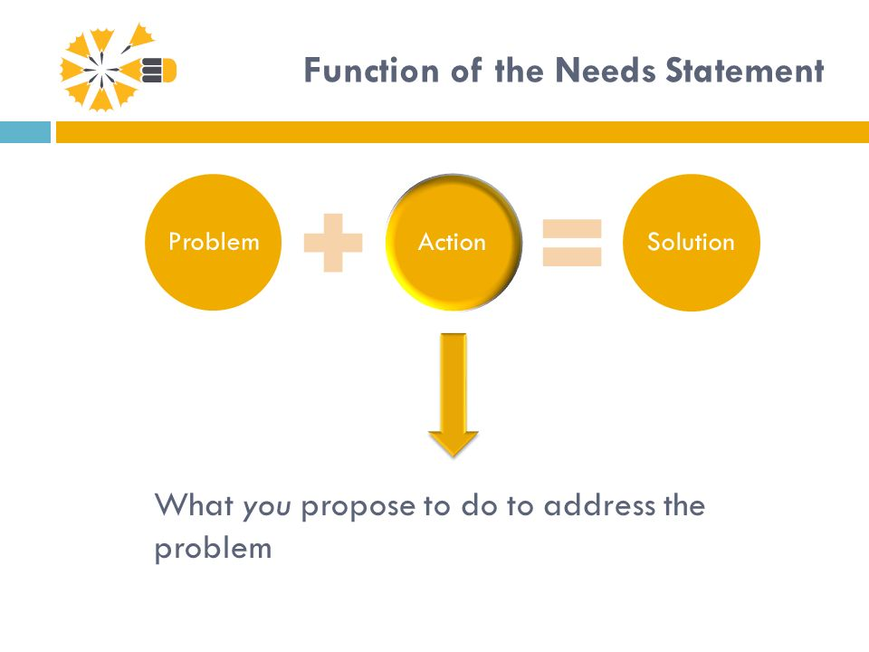 Function of the Needs Statement ProblemActionSolution What you propose to do to address the problem