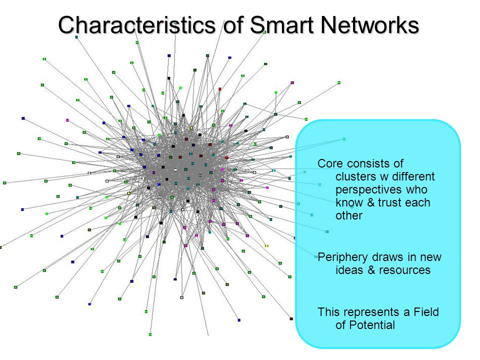 Core consists of clusters w different perspectives who know & trust each other Periphery draws in new ideas & resources This represents a Field of Potential Characteristics of Smart Networks